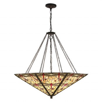 Interiors 1900 Beige Dragonfly Tiffany Mega Pendant Light
