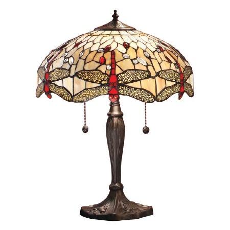 Interiors 1900 Beige Dragonfly Medium Tiffany Table Lamp