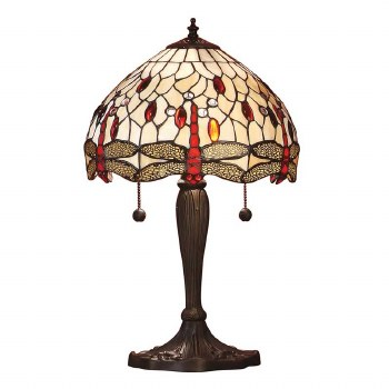 Interiors 1900 Beige Dragonfly Small Tiffany Table Lamp