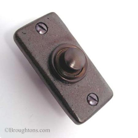 Aston Door Bell Push Rectangular Rustic Solid Bronze