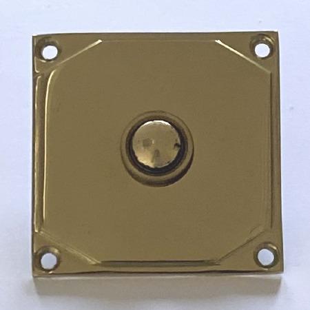 Aston Door Bell Push Art Deco 9478 Polished Brass Unlacquered