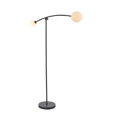 Bere Regis Globe 2 Light Floor Lamp Matt Black and Opal Glass