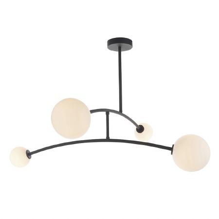 Bere Regis Globe 4 Light Semi Flush Ceiling Light Matt Black and Opal Glass