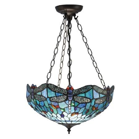 Interiors 1900 Blue Dragonfly Medium Inverted Tiffany Ceiling Light
