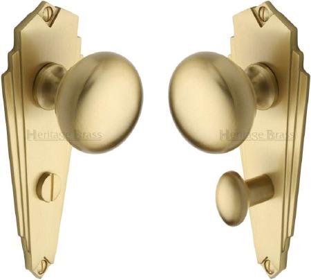 Heritage Broadway BR1830 Art Deco Bathroom Set Door Knobs Satin Brass