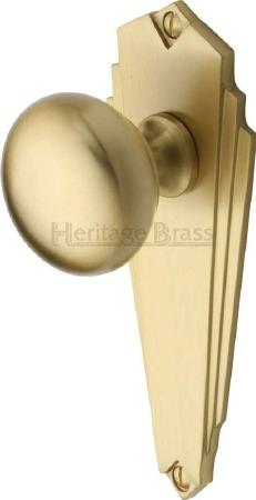 Heritage Broadway BR1810 Art Deco Door Knobs Lever Latch Satin Brass