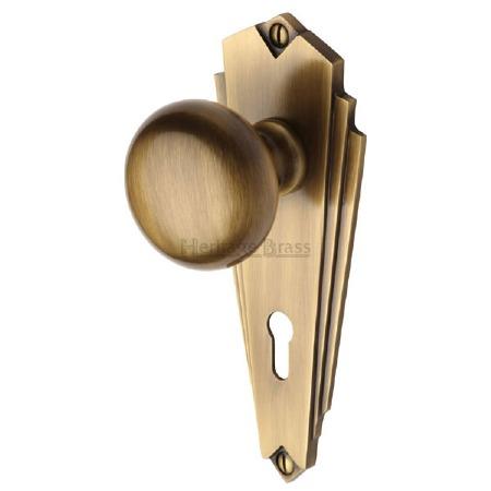 Heritage Broadway BR1800 Art Deco Door Knobs Lever Lock Antique Brass Lacq
