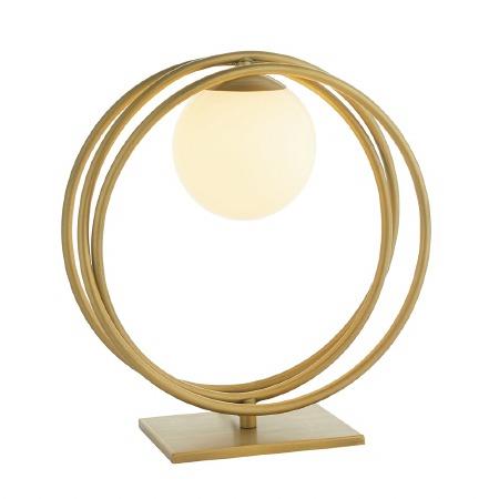 Broadwindsor Hoop Table Lamp Brushed Gold & Opal Glass