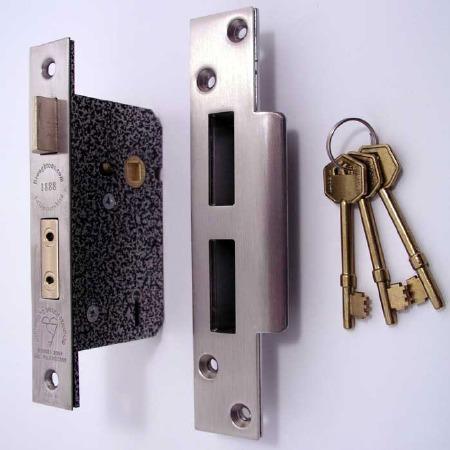 Broughtons 5 Lever BS Mortice Door Lock 76mm Stainless Steel