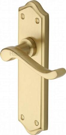 Heritage Buckingham Latch Door Handles W4210 Satin Brass Lacquered