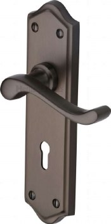 Heritage Buckingham Door Lock Handles W4200 Matt Bronze