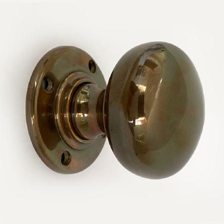 Aston Bun Door Knobs Polished Solid Bronze Antiqued 57mm
