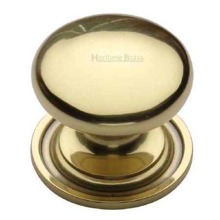 Heritage Round Cabinet Knob C2240 38 Polished Brass