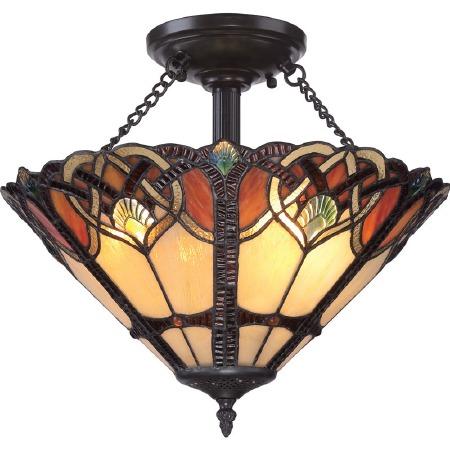 Quoizel Asheville Tiffany Semi Flush Light Valiant Bronze