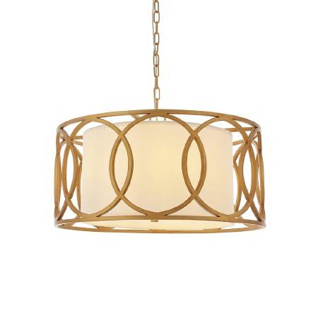Cattistock 4 Light Framed Pendant Brushed Gold