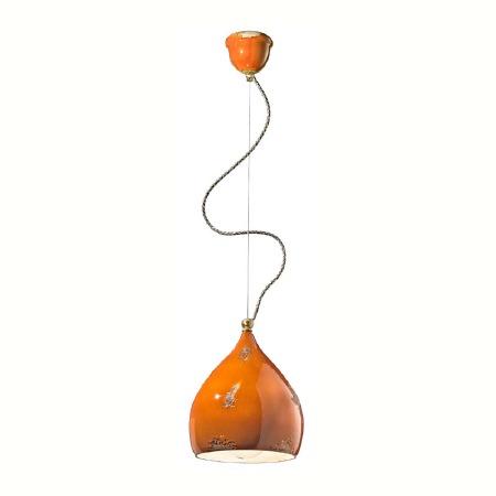 Italian Ceramic Pendant Light C1415 Vintage Arancio