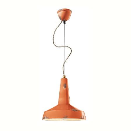 Italian Ceramic Pendant Light C1417 Vintage Arancio