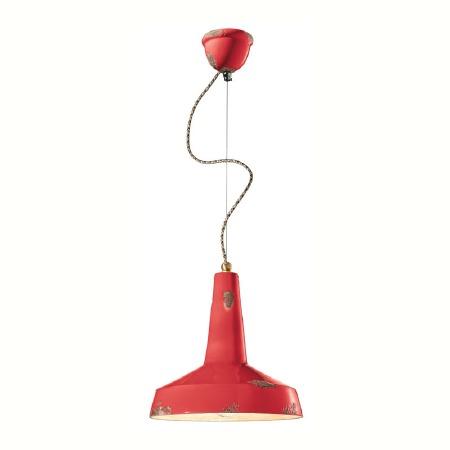 Italian Ceramic Pendant Light C1417 Vintage Rosso