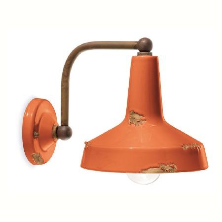 Italian Ceramic Wall Bracket Light C1420 Vintage Arancio