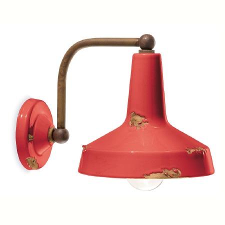 Italian Ceramic Wall Bracket Light C1420 Vintage Rosso