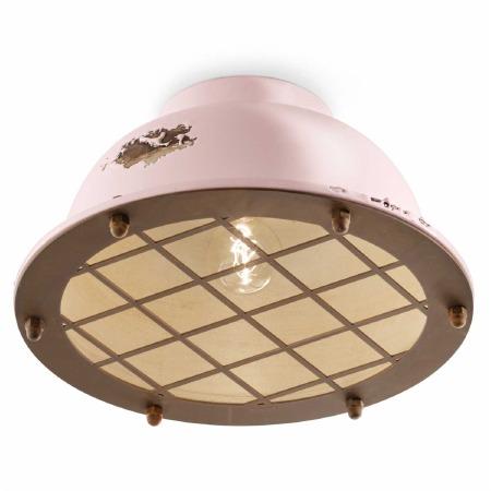 Italian Ceramic Flush Ceiling Light C1760 Vintage Cipria
