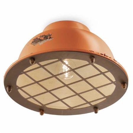 Italian Ceramic Flush Ceiling Light C1760 Vintage Arancio