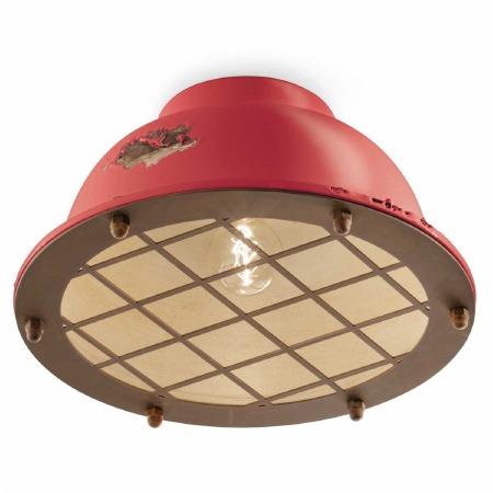 Italian Ceramic Flush Ceiling Light C1760 Vintage Rosso