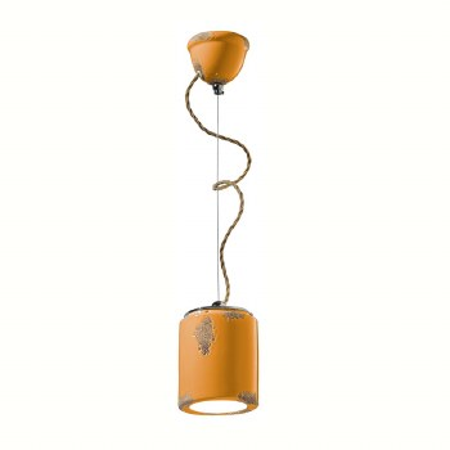 Italian Ceramic Pendant Light C984 Vintage Giallo