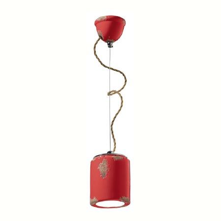 Italian Ceramic Pendant Light C984 Vintage Rosso