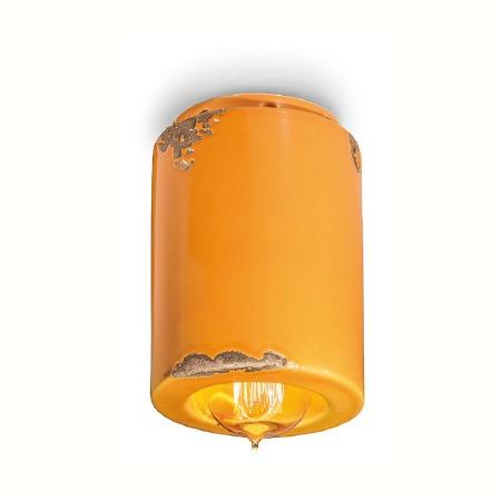 Italian Ceramic Ceiling Light C985 Vintage Giallo