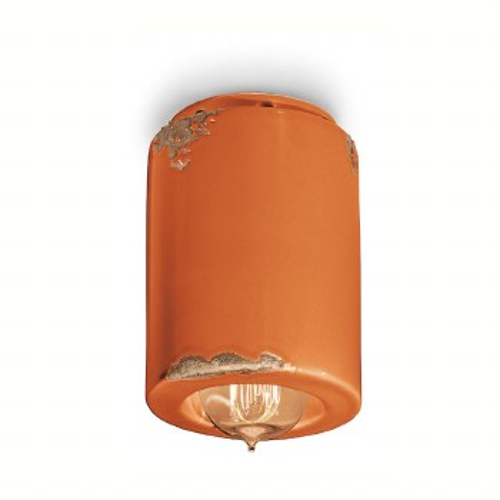Italian Ceramic Ceiling Light C985 Vintage Arancio