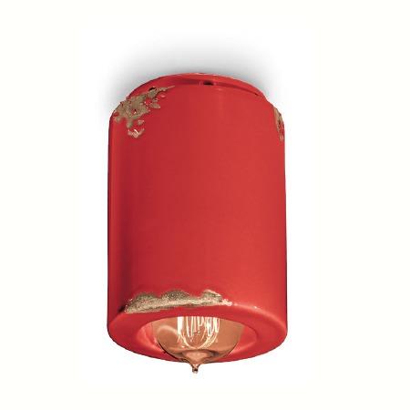 Italian Ceramic Ceiling Light C985 Vintage Rosso