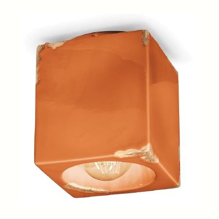 Italian Ceramic Square Ceiling Light C987 Vintage Arancio
