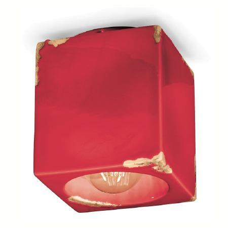 Italian Ceramic Square Ceiling Light C987 Vintage Rosso