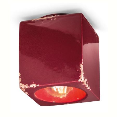 Italian Ceramic Square Ceiling Light C987 Vintage Bordeaux