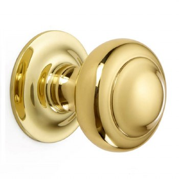 Croft Centre Door Knob 6344 Polished Brass Unlacquered
