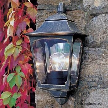 Elstead Chapel Flush Outdoor Wall Light Lantern Black Gold