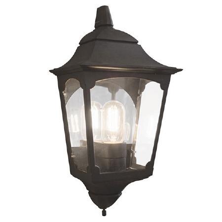Elstead Chapel 3 Sided Flush Outdoor Wall Light Lantern Black