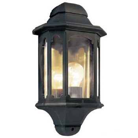 Elstead Chapel 5 Sided Flush Outdoor Wall Light Lantern Black