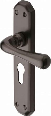 Heritage Charlbury Euro Lock Door Handles V7066 Matt Bronze