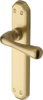 Heritage Charlbury Latch Door Handles V7060 Satin Brass Lacquered