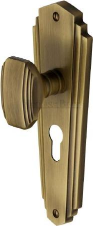Heritage Charlston Door Knobs Euro Profile CHA1948 Antique Brass