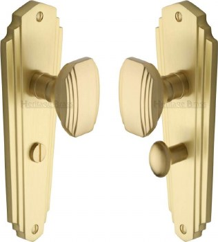 Heritage Charlston Door Knobs Bathroom Set CHA1930 Satin Brass