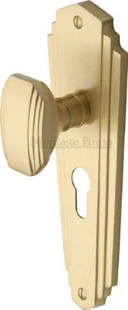 Heritage Charlston Door Knobs Euro Profile CHA1948 Satin Brass