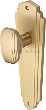 Heritage Charlston Door Knobs Lever Latch CHA1910 Satin Brass