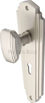 Heritage Charlston Door Knobs Lever Lock CHA1900 Satin Nickel