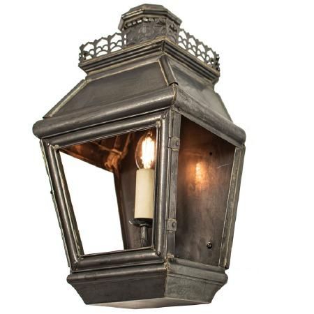 Chateau Flush Outdoor Wall Light Lantern Antique Brass