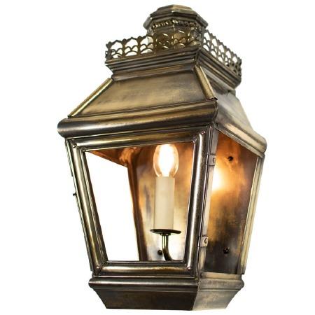 Chateau Flush Outdoor Wall Light Lantern, Light Antique Brass