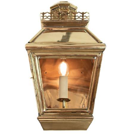 Chateau Flush Outdoor Wall Light Lantern Polished Brass