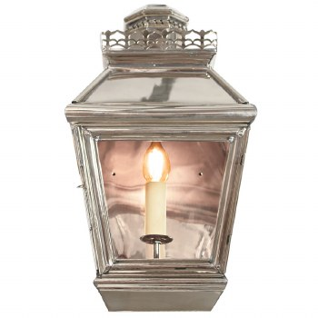 Chateau Flush Outdoor Wall Light Lantern Nickel